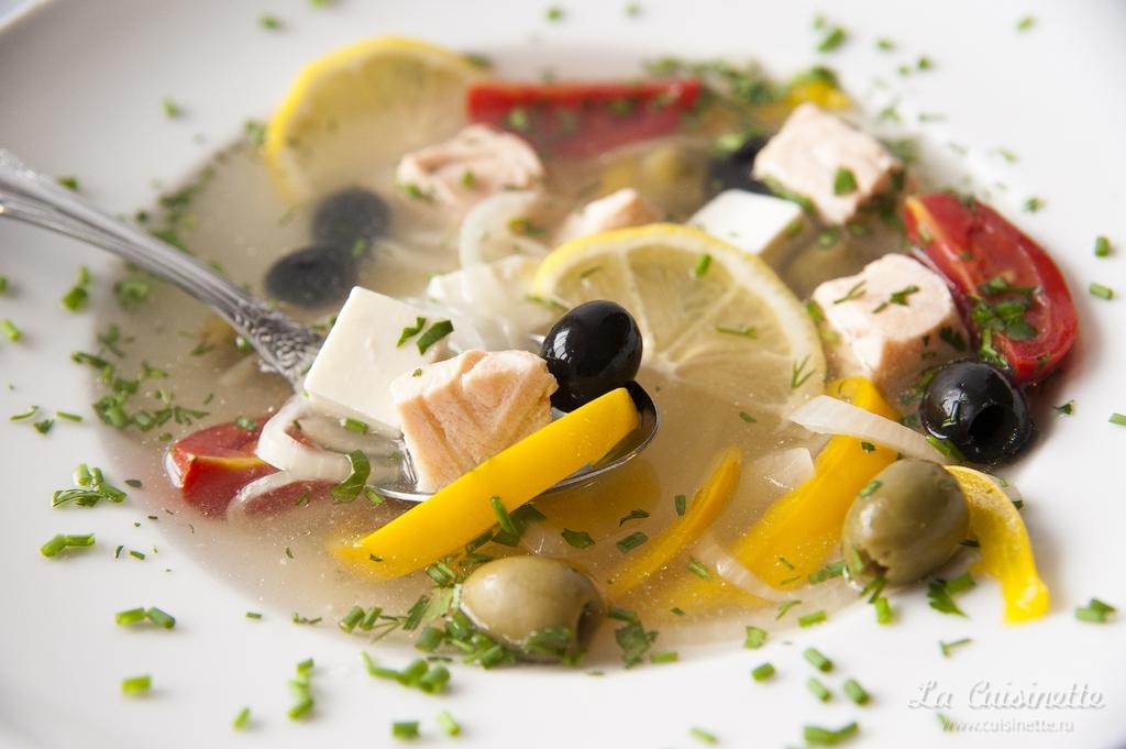 Суп с семгой по-гречески